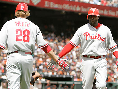 Jayson Werth´s bases-clearing double tied the game in the top of the ninth inning. (Eric Risberg/AP)