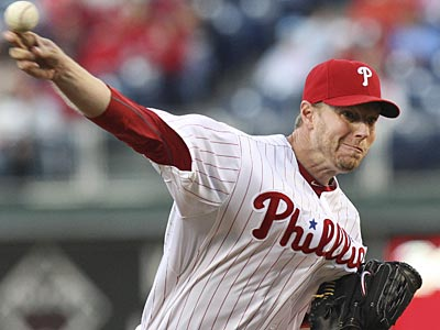 Roy Halladay pitched seven innings, allowed three runs and struck out five against the Cubs. (Steven M. Falk/Staff Photographer)