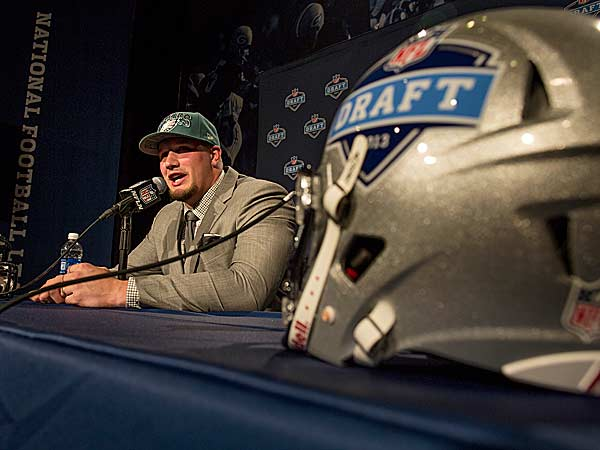 Lane Johnson speaks during a news conference after being selected fourth overall by the Eagles during the first round. (Craig Ruttle/AP)