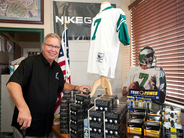 Ron Jaworski shows off his football memorabilia and golf accessories at Valleybrook Country Club in Blackwood. He owns five golf courses in the region and got into the golf business as a backup plan. (Ron Tarver / Staff Photographer)