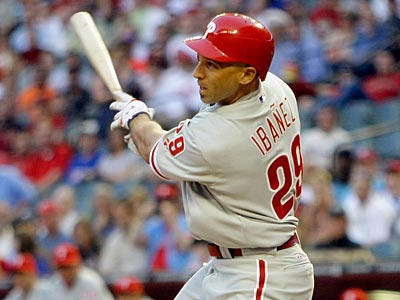 Phillies left fielder Raul Ibanez is now hitless in his last 34 at-bats. (Matt York/AP Photo)