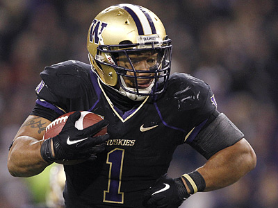 Washington running back Chris Polk is one of 12 rookie free agents to sign with the Eagles. (AP Photo/Elaine Thompson)