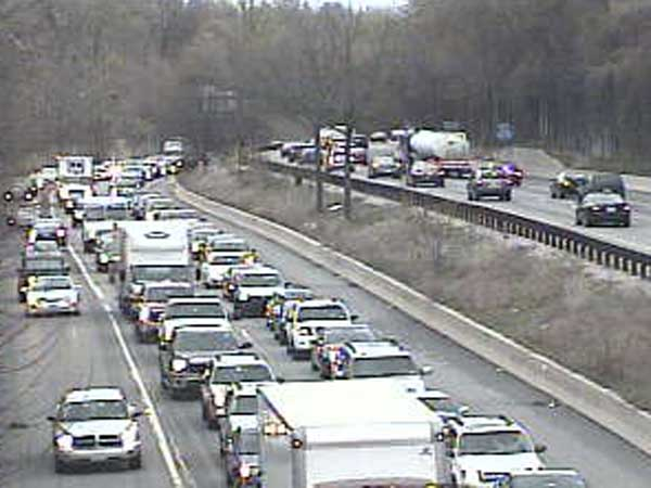 This PennDOT traffic camera photo shows northbound traffic backed up on Interstate 476 due to an accident near Broomall.