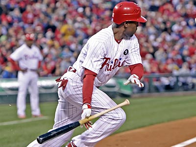 Jimmy Rollins says he did not have a part in the pickoff of the Reds´ Brandon Phillips (Steven M. Falk/Staff Photographer)