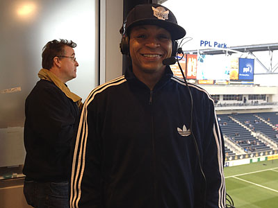 Gus Johnson in the visiting radio booth at PPL Park. (Jonathan Tannenwald/Philly.com)