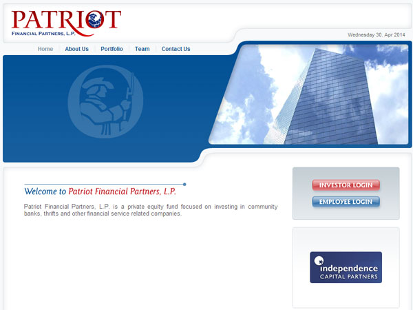 A screen grab from Patriot Financial´s web site.