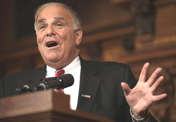 During a news conference last month in Harrisburg, Gov. Rendell previewed today´s budget address.