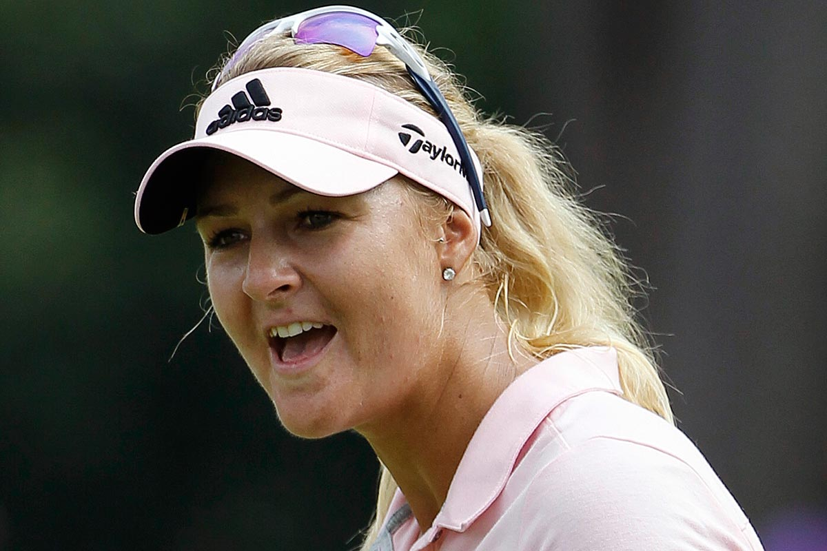 Anna Nordqvist of Sweden reacts after missing a shot on the third green during the third round of the LPGA golf tournament at Tournament Players Club (TPC) in Kuala Lumpur, Malaysia, Saturday, Oct. 29, 2016.