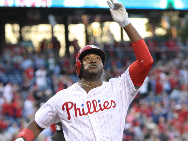 Domonic Brown (9) looks up to the sky after hitting a solo home against the Marlins during the second inning at Citizens Bank Park in Philadelphia, Thursday, May 2, 2013. (Steven M. Falk/Staff Photographer)