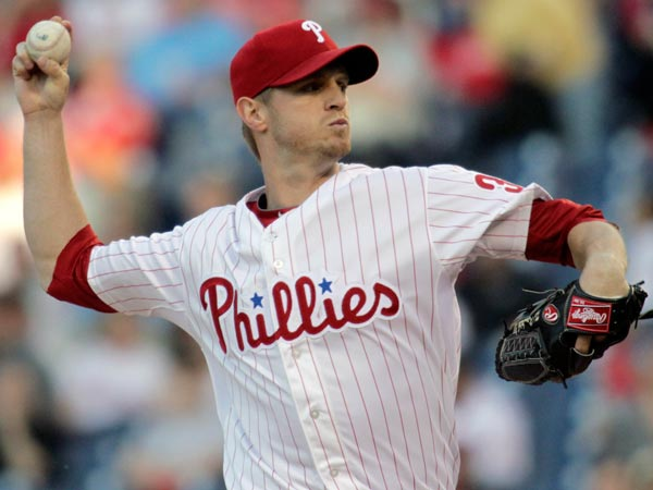 Kyle Kendrick throws against the Miami Marlins in the first inning of a baseball game on Thursday, May 2, 2013, in Philadelphia. (H. Rumph Jr/AP)