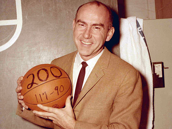This undated photo provided by Saint Joseph´s University shows the school´s basketball coach Jack Ramsay when his team won his 200th career game. Ramsay, a Hall of Fame coach who led the Portland Trail Blazers to the 1977 NBA championship before he became one of the league´s most respected broadcasters, has died following a long battle with cancer. He was 89. (AP Photo/Saint Joseph´s University)
