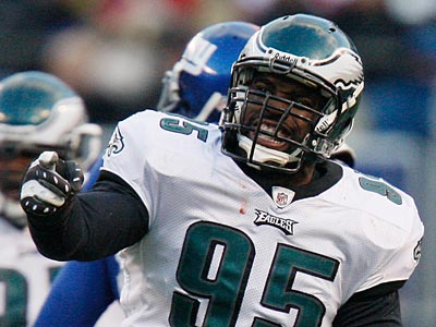 Will DL Victor Abiamiri be on the Eagles´ roster next season? (AP file photo/Julie Jacobson)