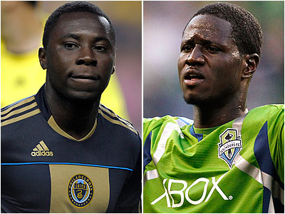 Freddy Adu (left) and Eddie Johnson (right) both returned to MLS after failing to break through in Europe. (AP file photos)