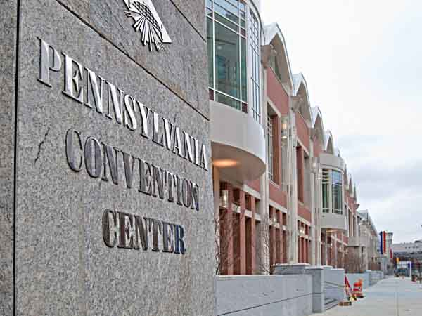 Signage and exterior of the Arch St. side of the expansion of the Pa. Convention Center, Feb. 21, 2011. (David M Warren / Staff Photographer)