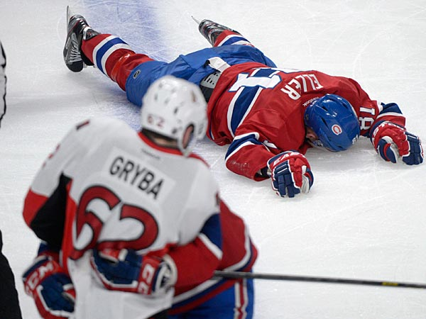 The Ottawa Senators´ Eric Gryba was suspended for two games after his hit on Montreal Canadiens´ Lars Eller. (AP Photo/The Canadian Press, Graham Hughes)