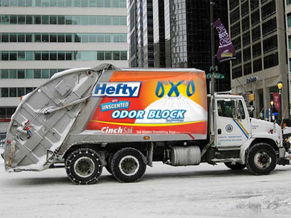 Caption: A photo illustration depicts hypothetical advertising on a garbage truck. (Credit: Philadelphia City Council)