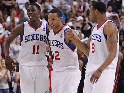 Jrue Holiday, Evan Turner, Andre Iguodala and the Sixers finished 41-41 this season. (Ron Cortes/Staff Photographer)