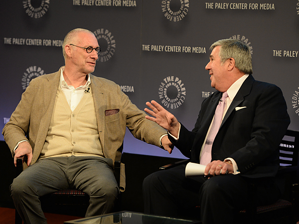 ESPN president John Skipper (left) chats with veteran soccer studio host Bob Ley (right) at the network´s World Cup preview presentation. (Photo courtesy of ESPN Images)