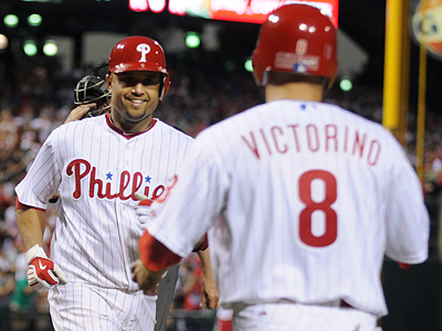 Placido Polanco hit a two run home run in the bottom of the fourth inning. (Sarah J. Glover / Staff Photographer)