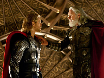 """Chris Hemsworth, left, and Anthony Hopkins are shown in a scene from the film, """"Thor."""" (AP Photo / Paramount Pictures-Marvel Studios, Zade Rosenthal)"""