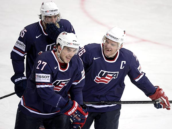 Team USA routed Team Latvia, 4-1 on Sunday at the IIHF&acute;s Ice Hockey World Championships in Sweden and Finland. (AP Photo/Lehtikuva, Martti Kainulainen)<br />