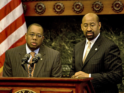 Revenue Commissioner Keith Richardson alongside Mayor Michael Nutter during a press conference yesterday to address  BRT issues raised by an Inquirer series. ( Kevin Cook / Staff Photographer)