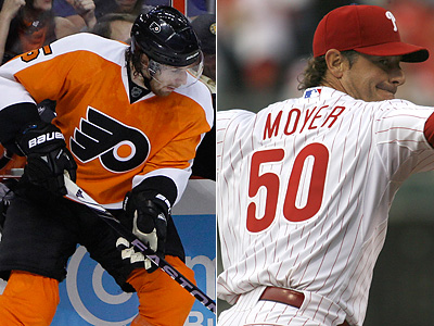 Braydon Coburn and Jamie Moyer will look to bring victory to South Philly in a busy night of sports. (File Photos)