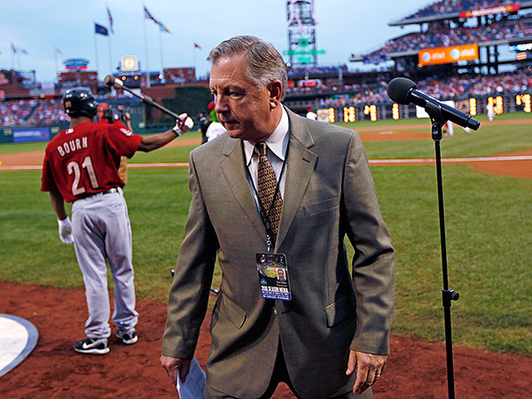 Dan Baker has worked as the public address announcer for Eagles and Phillies games for decades. (Matt Rourke/AP)