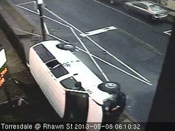 A van crashed at Torresdale Avenue and Rhawn Street on Wednesday, May 8, 2013. The van had multiple passengers. (Photo from PA 511 traffic camera)
