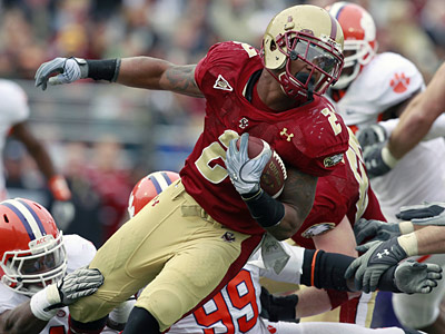 Running back Montel Harris was dismissed from the Boston College football team. (AP Photo/Michael Dwyer)