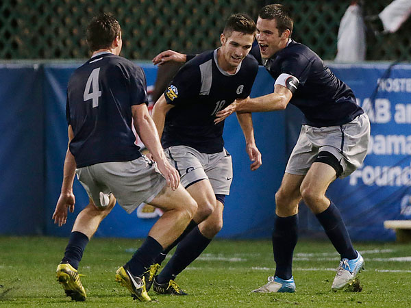 Georgetown´s Steve Neumann (center), a New Hope native, will be playing for Reading United this summer. He´s one of the top college prospects heading into next year´s MLS SuperDraft.