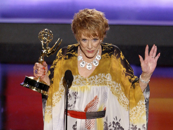 "FILE - In this June 20, 2008 file photo, actress Jeanne Cooper accepts the award for outstanding lead actress in a drama series for her work on ""The Young and the Restless"" at the 35th Annual Daytime Emmy Awards in Los Angeles.  CBS says soap opera star Cooper has died. She was 84.  Cooper played grande dame Katherine Chancellor on CBS´ ""The Young and the Restless"" for nearly four decades. (AP Photo/Matt Sayles), File"