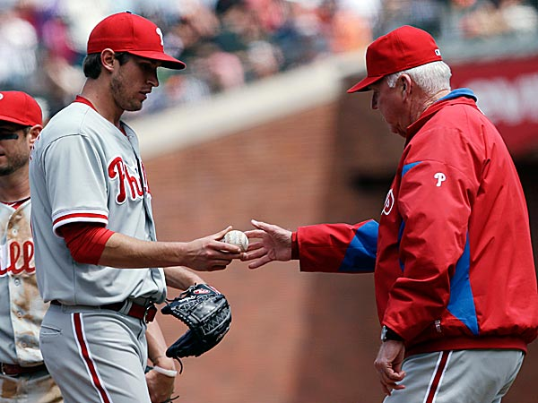 Phillies starting pitcher Jonathan Pettibone is pulled from the game by<br />manager Charlie Manuel during the sixth inning. (Marcio Jose Sanchez/AP)