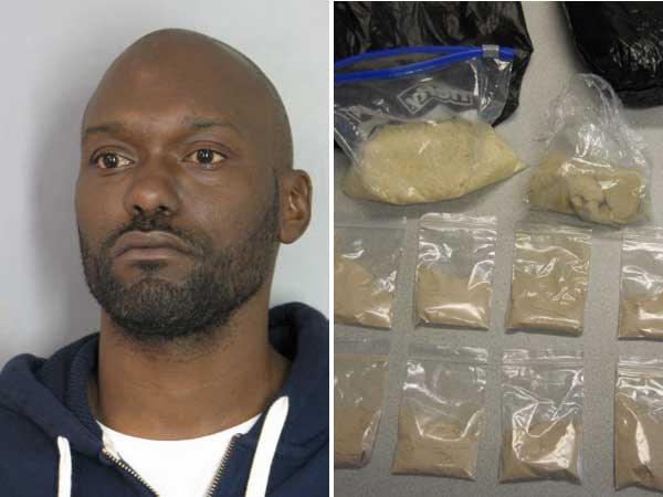 Michael Chandler and some of the heroin troopers say they found in his vehicle during a traffic stop. (Courtesy of Delaware State Police)