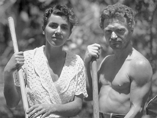 Dore Strauch and Friedrich Ritter in their garden on Floreana Island in the Galapagos circa 1932. (USC Special Collections/Zeitgeist Films)