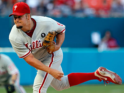 Joe Blanton induced four double plays in his five innings pitched against the Marlins. (Alan Diaz/AP)