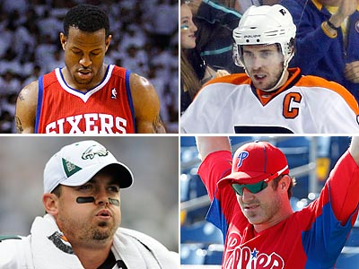 Questions surround the futures of Andre Iguodala, Mike Richards, Chase Utley and Kevin Kolb. (Staff and AP photographs)