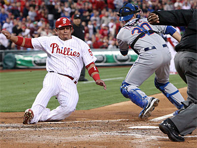 "Phillies catcher Carlos Ruiz ""jammed"" his hand, manager Charlie Manuel said. (Steven M. Falk / Staff Photographer)"