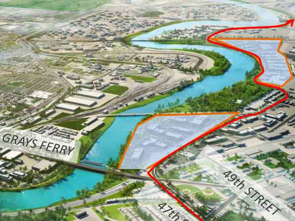 Proposed new roads in the lower Schuylkill River development zone, a six mile stretch along the river between University City and Philadelphia International Airport.  (Roads are in red)