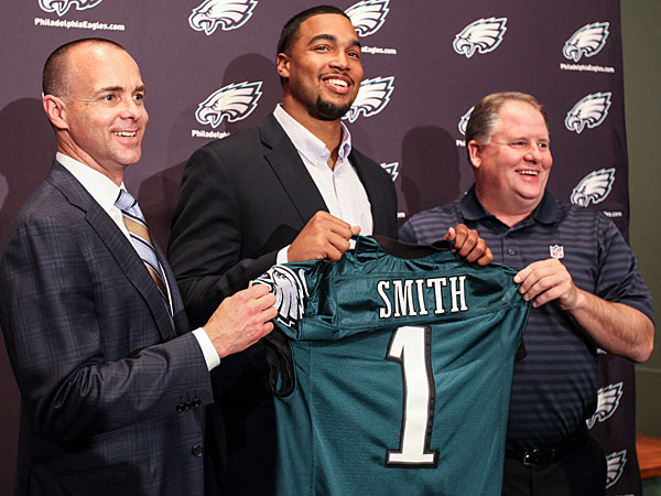 Eagles president Don Smolenski, first round pick Marcus Smith and head coach Chip Kelly. (Steven M. Falk/Staff Photographer)