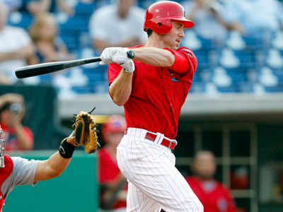 Chase Utley grounds out in the first inning of a rehab game with the Clearwater Threshers. (AP Photo/Mike Carlson)