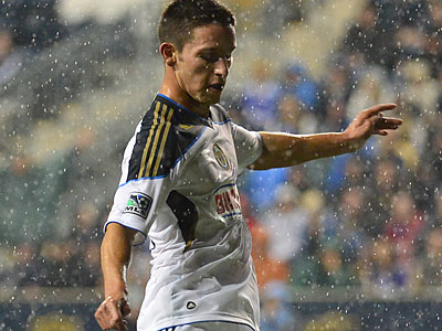 Zach Pfeffer played 45 minutes in the Union´s win over Schalke Wednesday night. (Greg Carroccio/Philadelphia Union)