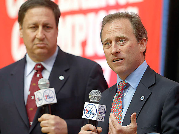 Sixers majority owner Joshua Harris (right) and CEO Adam Aron.