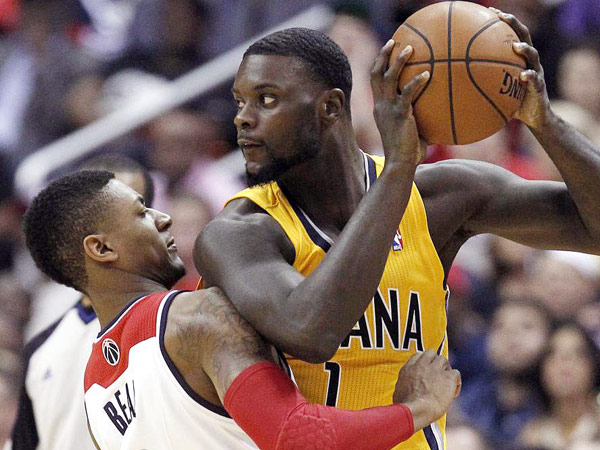 Pacers guard Lance Stephenson looks for a way around Washington Wizards guard Bradley Beal during Game 3 of  the Eastern Conference semifinals. (Alex Brandon/AP)