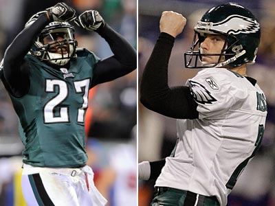 Quintin Mikell and David Akers are scheduled to be unrestricted free agents this offseasn. (Staff and AP Photos)