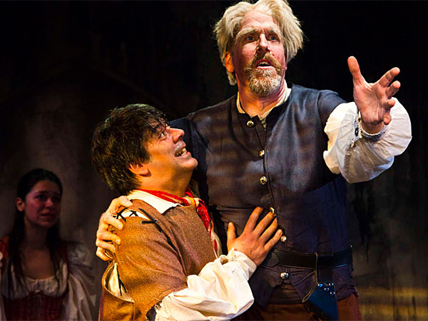 "Sonny Leo (left) and Peter Schmitz star as Sancho Panza and Don Quixote in ""Man of La Mancha"" at Act II Playhouse. (Bill D´Agostino)"