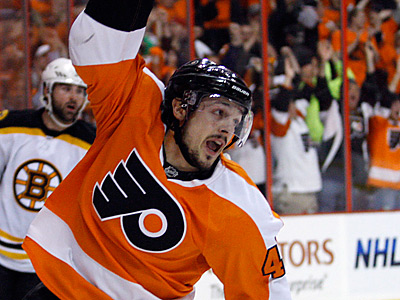 Danny Briere celebrates his second period goal.  The Flyers are hoping to force Game 7 with a win.  (Yong Kim / Staff Photographer)