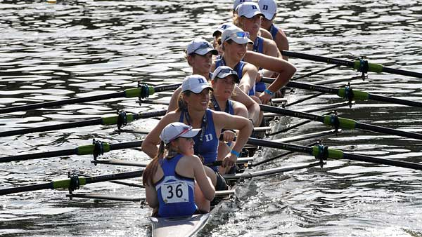 The Duke´s Women´s Varsity Heavyweight Eight row away with their first place medals from the finals. (Michael S. Wirtz/Staff Photographer)