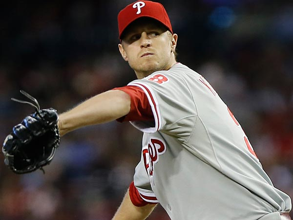 Philadelphia Phillies pitcher Kyle Kendrick delivers a pitch against<br />the Arizona Diamondbacks during the first inning of a baseball game,<br />Sunday, May 12, 2013, in Phoenix. (AP Photo/Matt York)