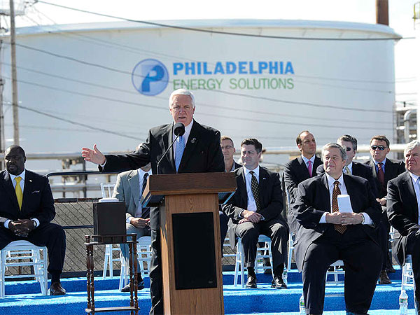 Gov. Corbett spoke at the 2012 renaming of the Sunoco refinery in South Philly as Philadelphia Energy Solutions, owned by the Carlyle Group. (File photo: Sharon Gekoski-Kimmel / Staff Photographer)